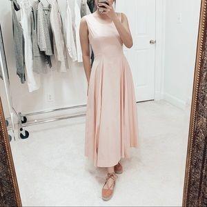 COS | Sleeveless Pink Pleated Cotton Maxi Dress